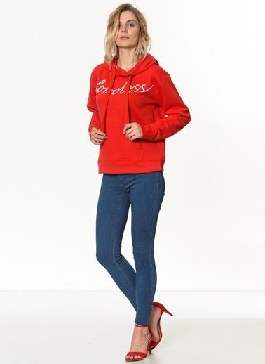Only Kapüşonlu Sweatshirt Kırmızı